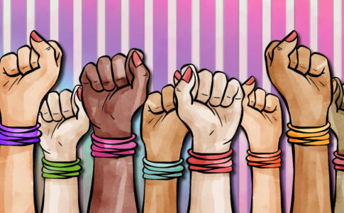 8 hands of varying skin tones, all wearing bracelets, raise fists together.