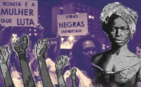 The background of the image is tinted purple and depicts Brazilian Black Lives Matter protesters. The foreground is in grayscale, featuring a Black woman wearing a headwrap on the right and several power fists sticking up from the bottom of the image on the left.