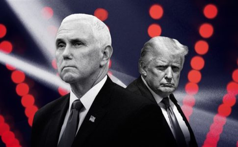 Donald Trump and Mike Pence in grayscale on a background of red lights