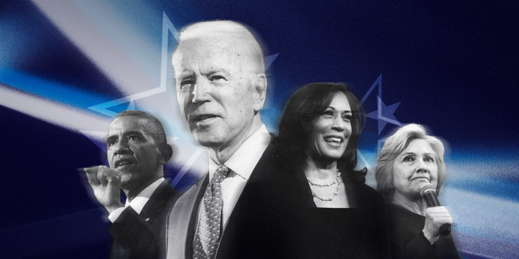 A photoshopped graphic of Joe Biden, Barack Obama, Kamala Harris, and Hillary Clinton staring in different directions against a black and blue background