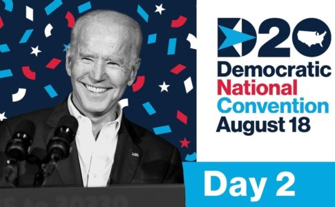 A black and white photo of Joe Biden smiling in front of a microphone is superimposed on a background of dark blue with red, white, and lighter blue confetti. Next to him, text (in the same colors) reads D20, Democratic National Convention, August 18, Day 2