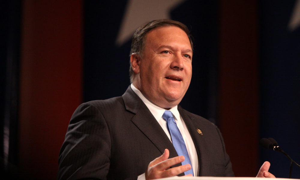 Mike Pompeo making a speech