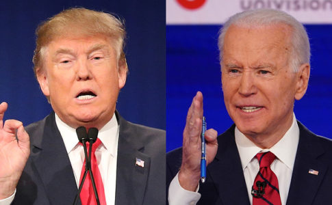 Donald Trump (left) and Joe Biden (right) juxtaposed next to each other, each in the middle of speaking with their right hand raised. They are both wearing black suits with red ties.
