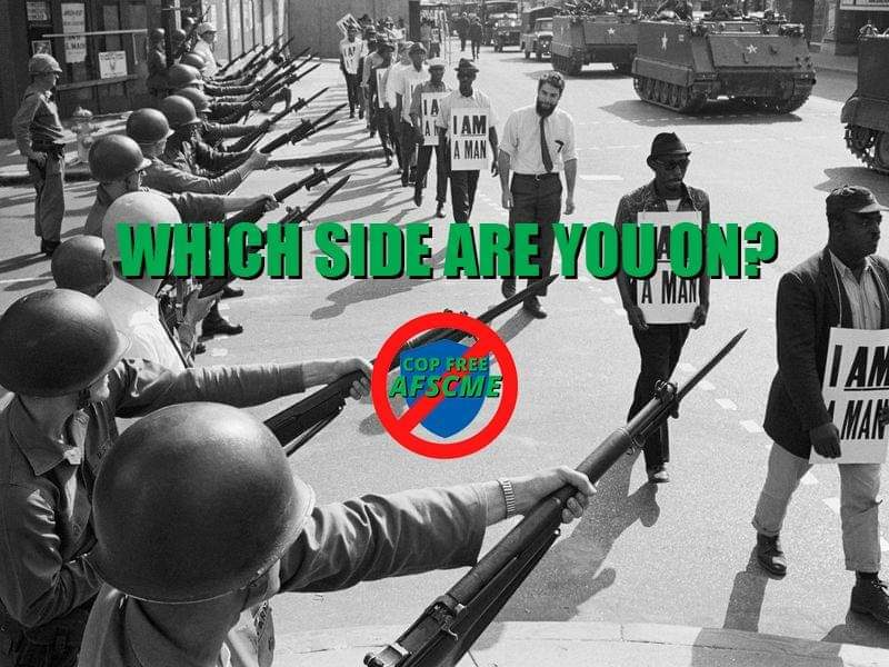 """Black and white photo with superimposed logo and text """"Which side are you on?"""""""