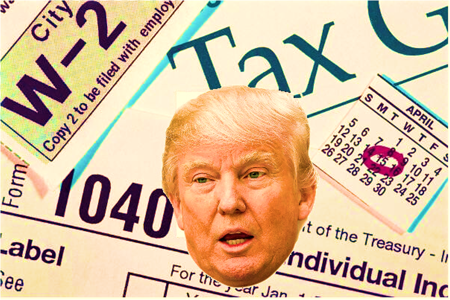 man with head over tax papers