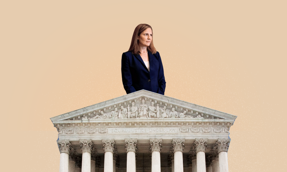 A picture of Amy Coney Barret, a white woman with shoulder length brown hair, looking off into the distance while wearing a dark pantsuit. She is edited on top of the Supreme Court Building on a tan background.