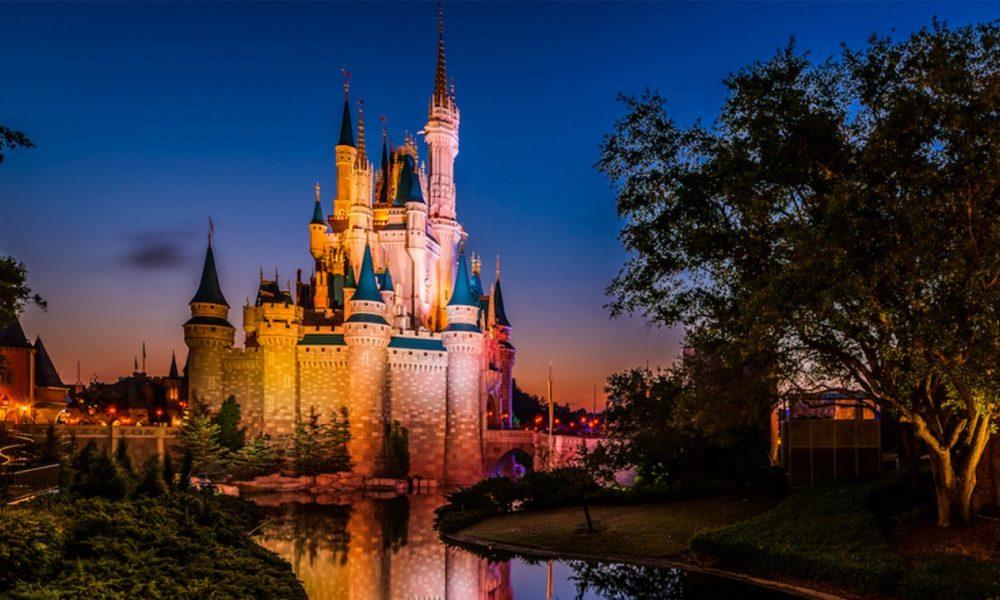 Disney castle at night