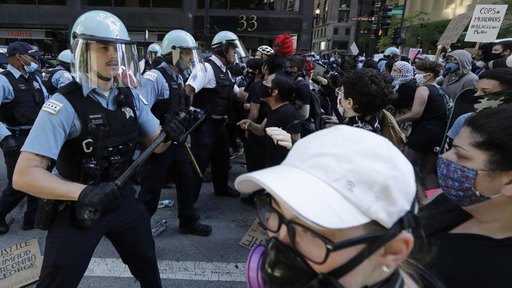 Chicago police attack demonstrators protesting the murder of George Floyd by cops in Minneapolis.
