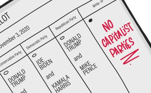 "A hand-drawn image of a ballot with the line for president showing. The write-in bubble is filled in, and someone has written ""NO CAPITALIST PARTIES"" in red."