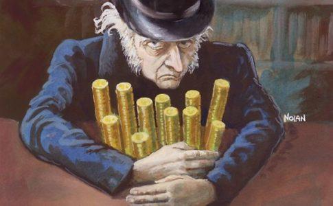 The photo depicts Ebenezer Scrooge hoarding his money.