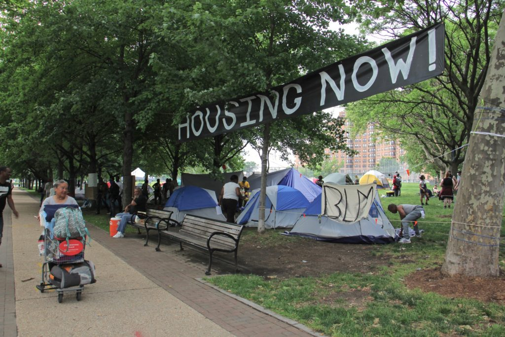 A photo of the housing encampment at the Ben Franklin Parkway in Philadelphia.