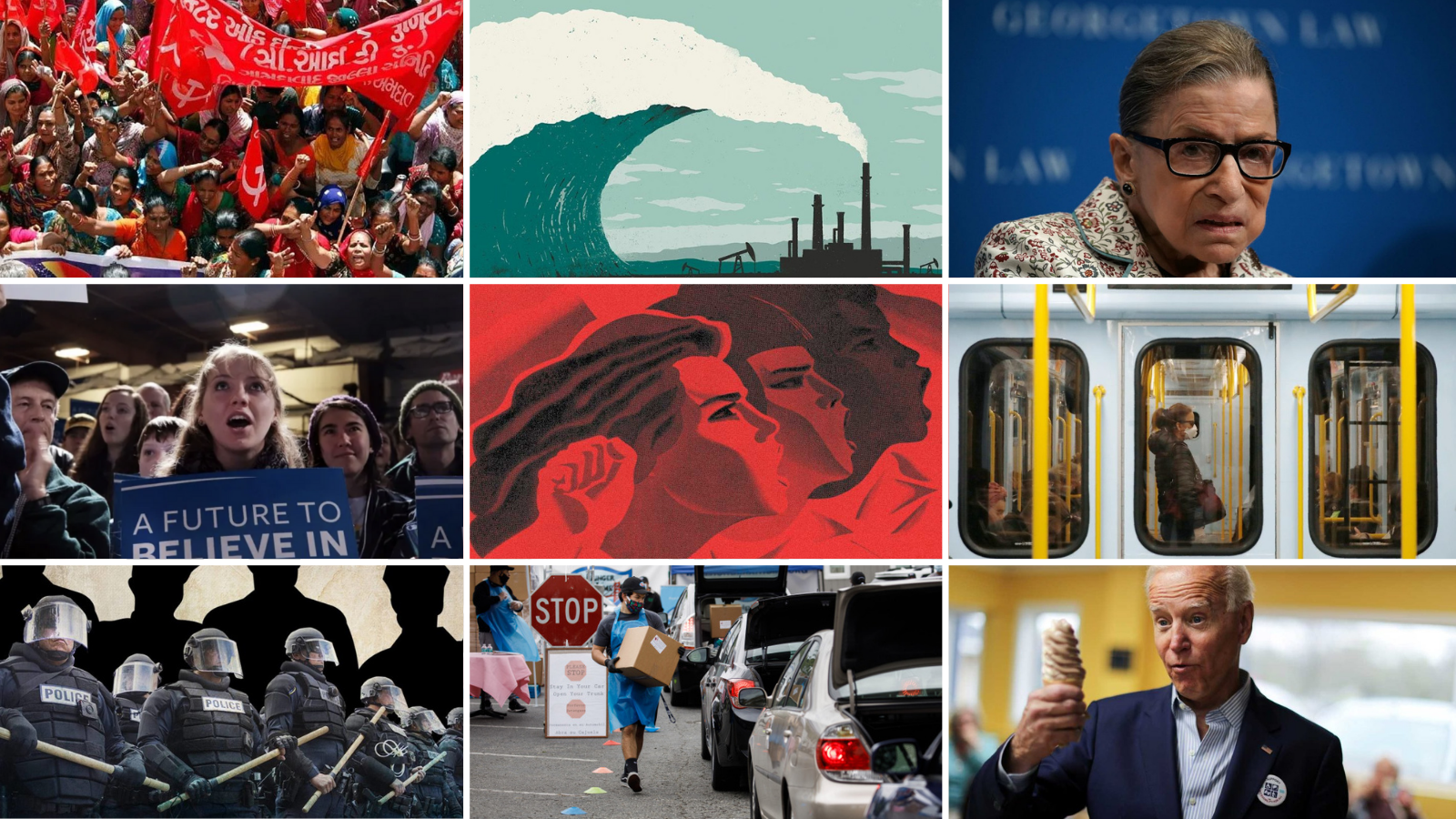 A collage of nine photos from current events of 2020
