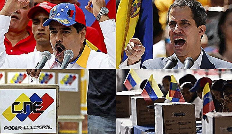 This image is divided into four quadrants, each quadrant showing a different image. In the upper left is Maduro, wearing a baseball cap and shouting into a microphone. In the upper right is another man, whose identity is unknown to this alt-text writer, also shouting into a microphone. In the bottom right is a sign for the CNE, with the letters superimposed onto yellow, blue, and red rectangles. In the bottom right is an image of people voting while surrounded by Venezuelan flags.