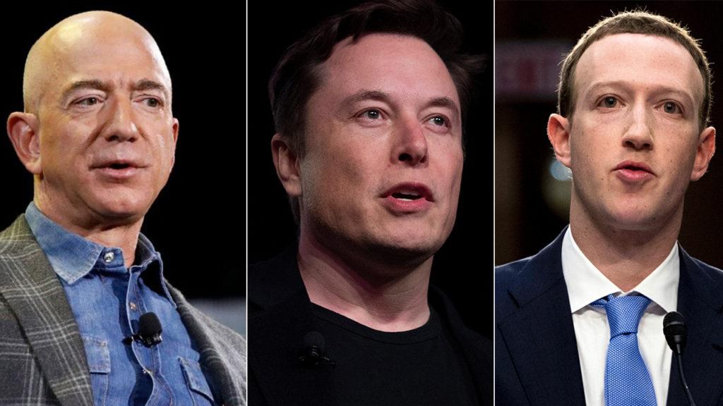 Photos of Jeff Bezos, Elon Musk, and Zuckerberg side-by-side