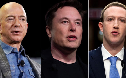 Photos of Jeff Bezos, Elon Musk, and Zuckerberg side-by-side