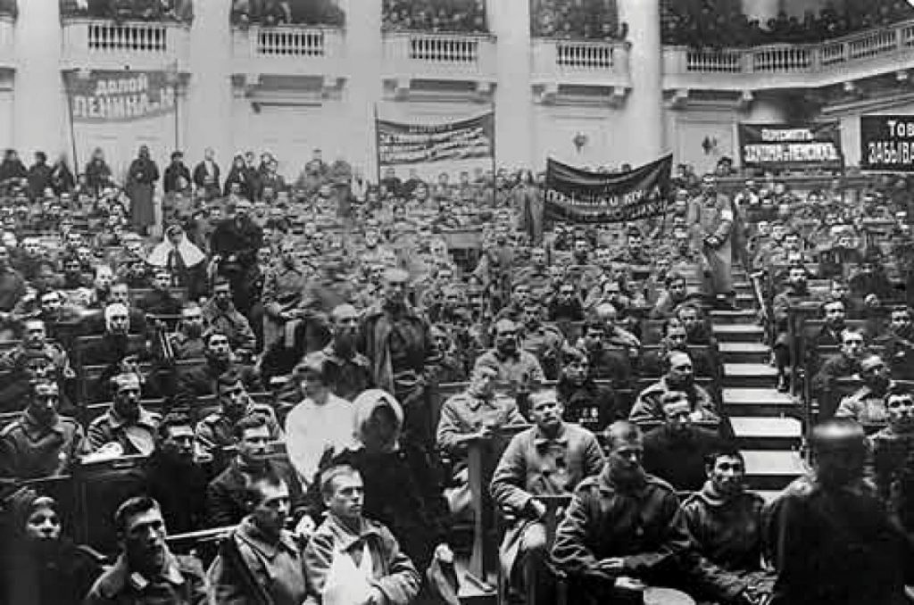 A meeting of the Petrograd Soviet in Russia on September 4, 1917.