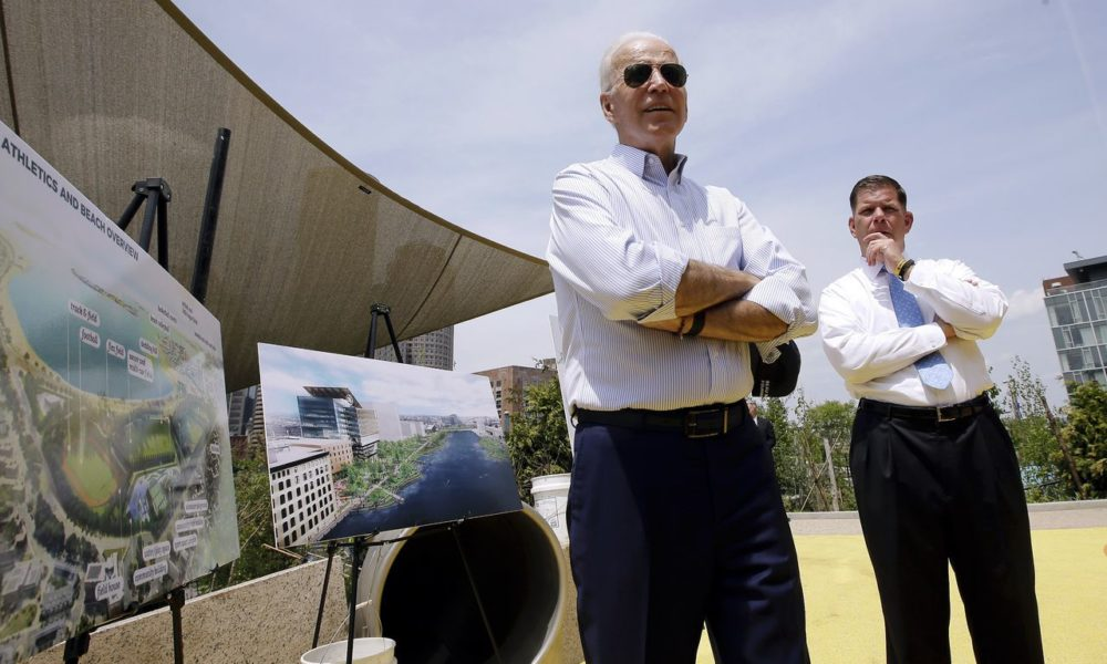 President-Elect Joe Biden stands alongside Boston Mayor Marty Walsh, presenting the renderings of a park in construction in honor of victims of the 2013 Boston Marathon bombings