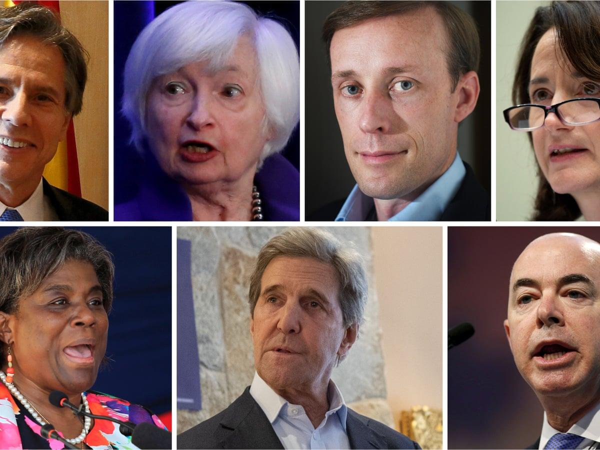 Photos of seven Biden cabinet nominees: Anthony Blinken, Janet Yellen, Jake Sullivan, Avril Haines, Alejandro Mayorkas, John Kerry and Linda Thomas-Greenfield