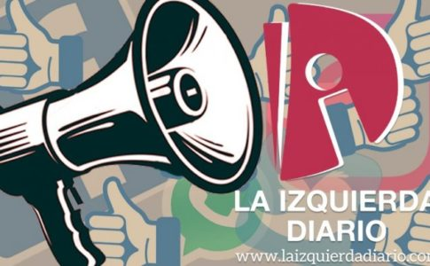 "Black and white speakerphone in front of a background of blue thumbs up signs with the La Izquierda Diario sign on the right with ""la izquierda diario"" in white text and the LID website in white text both below it."