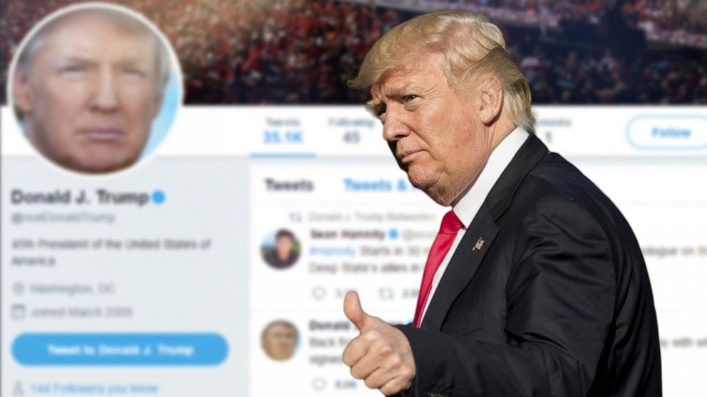 President Trump does thumbs up sign, the background is his now-deleted social media site