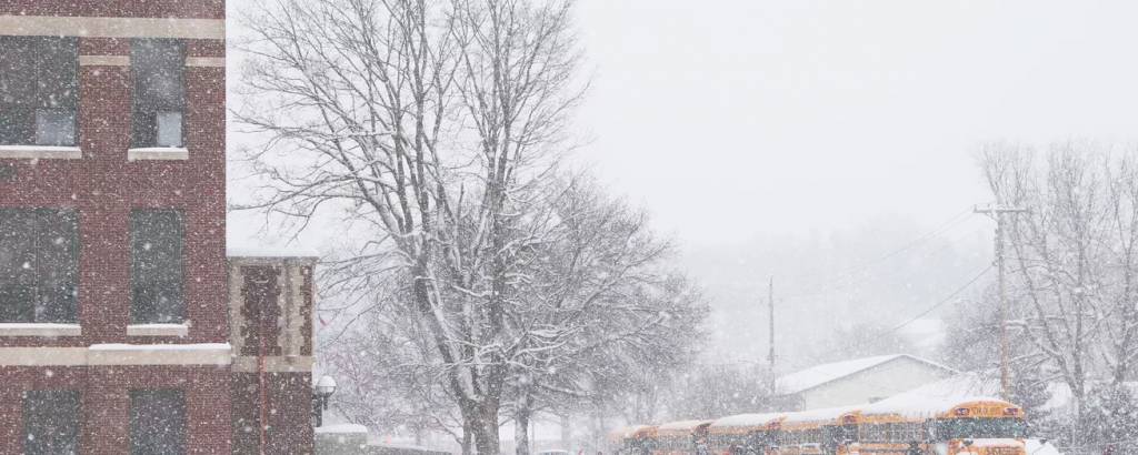 On the left, there is a red brick building, in the center there is a dead tree, and to the right are yellow schoolbuses. Snow covers the entire scene.