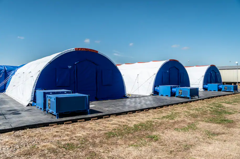The outside of medical facilities for migrant children detained at the border.