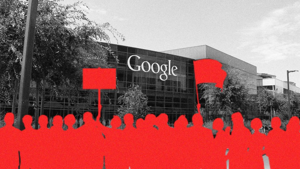 An illustration of workers holding flags painted red is superimposed on a black and white picture of Google headquarters.