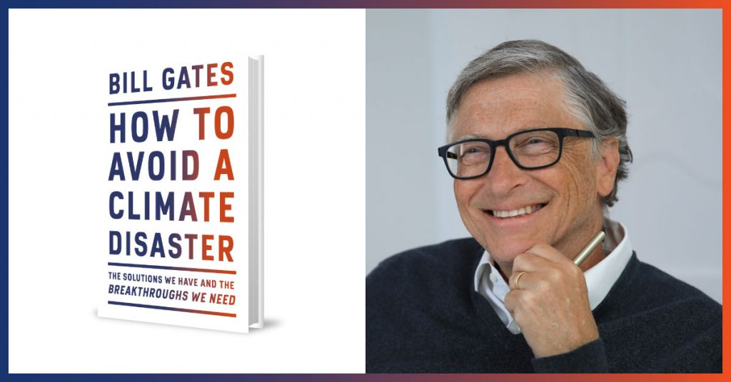 """Left panel is Bill Gates's new bok """"How To Avoid a Climate Disaster,"""" the right panel is a picture of Gates smiling."""