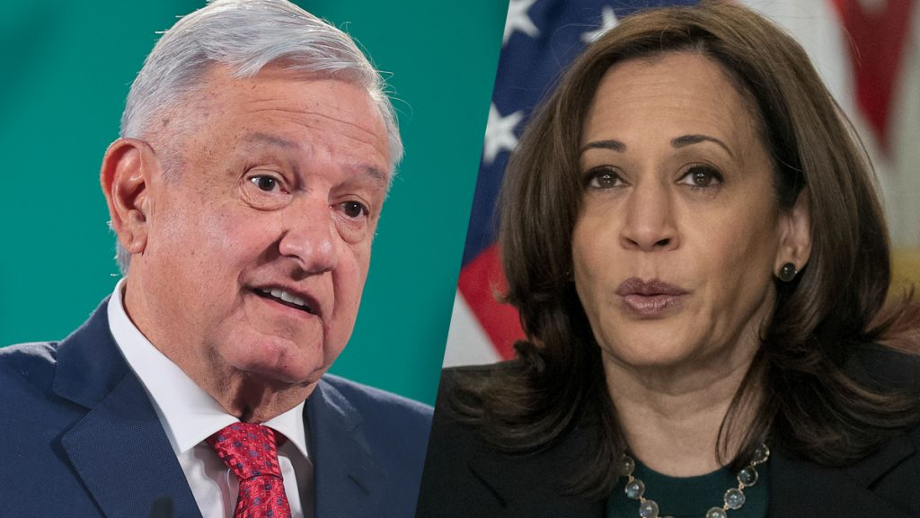 Side-by-side image of Mexican president AMLO and U.S. Vice President Kamala Harris
