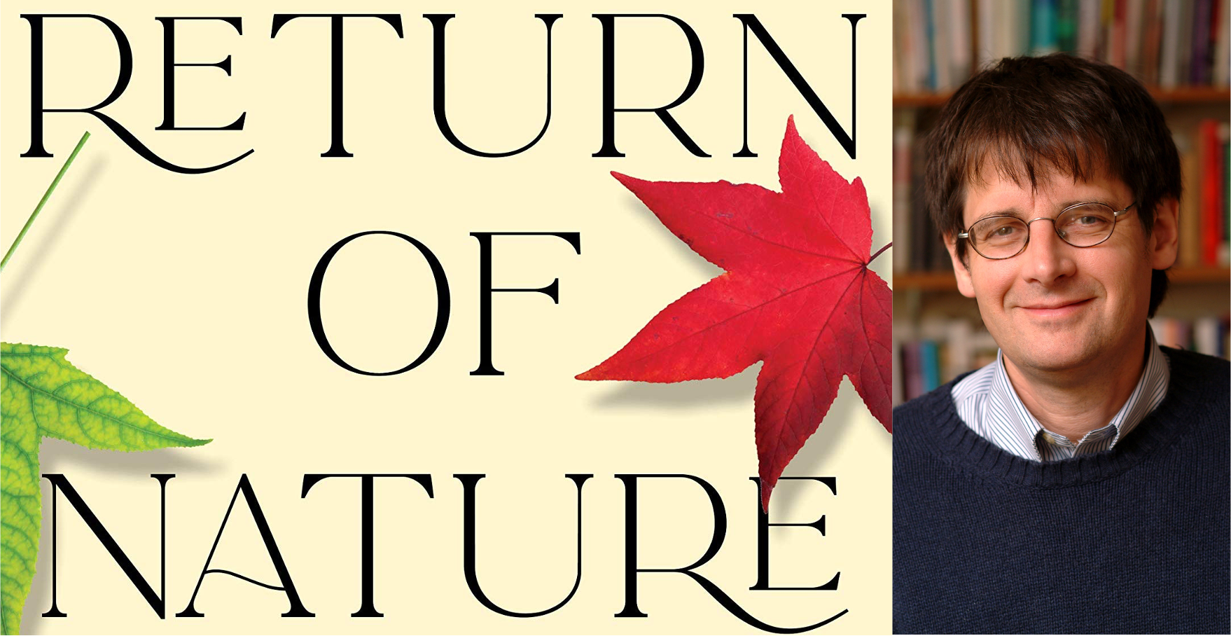On the left, a picture of John Bellamy Foster's book Return of Nature. On the right, a photo of him wearing a sweater and glasses.