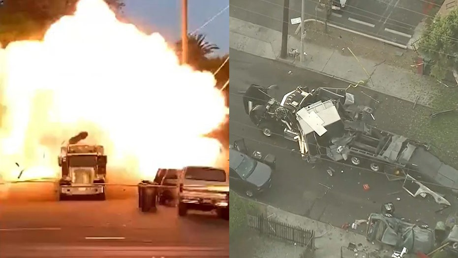 Two images of an explosion in Los Angeles after the LAPD detonate fireworks.