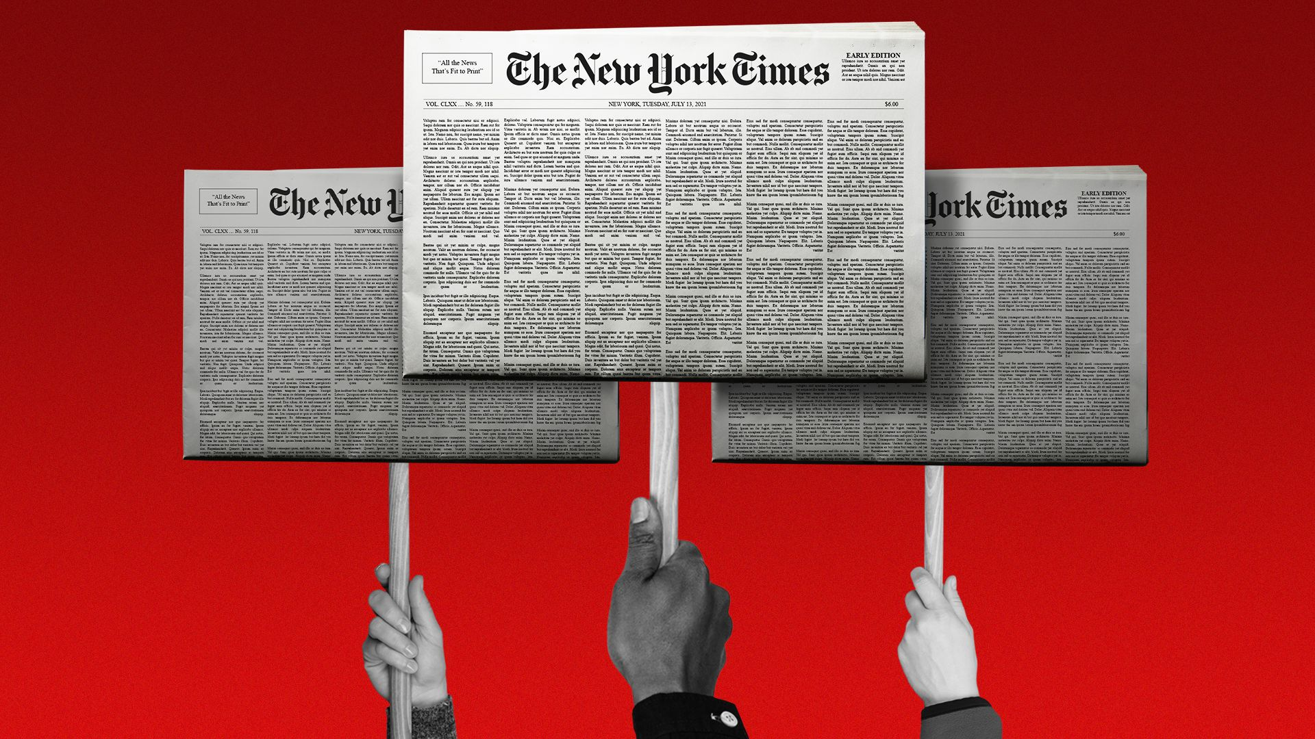 Three hands hold up picket signs that have the New York Times front page on them.