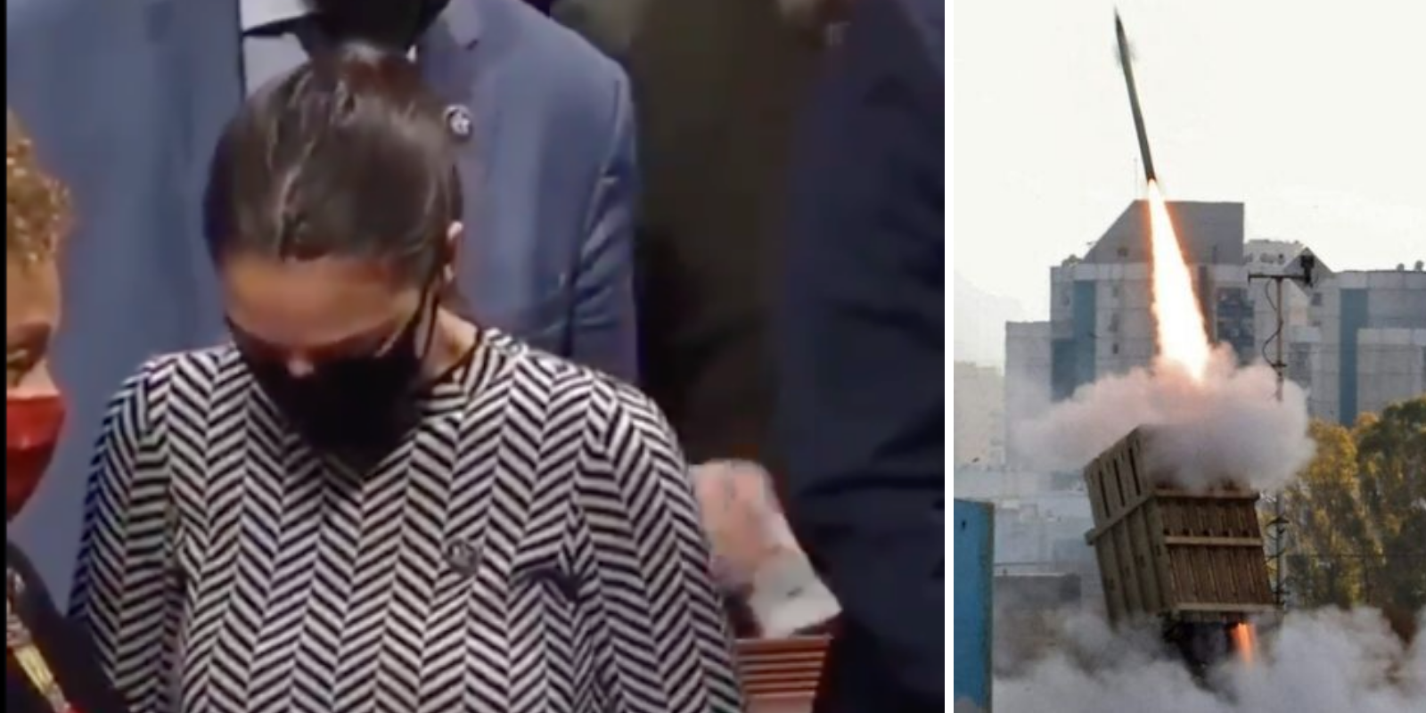 On the left, a picture of Alexandria Ocasio-Cortez wearing a mask and voting in favor of the Iron Dome funding in Congress. On the right, a picture of Iron Dome missiles.