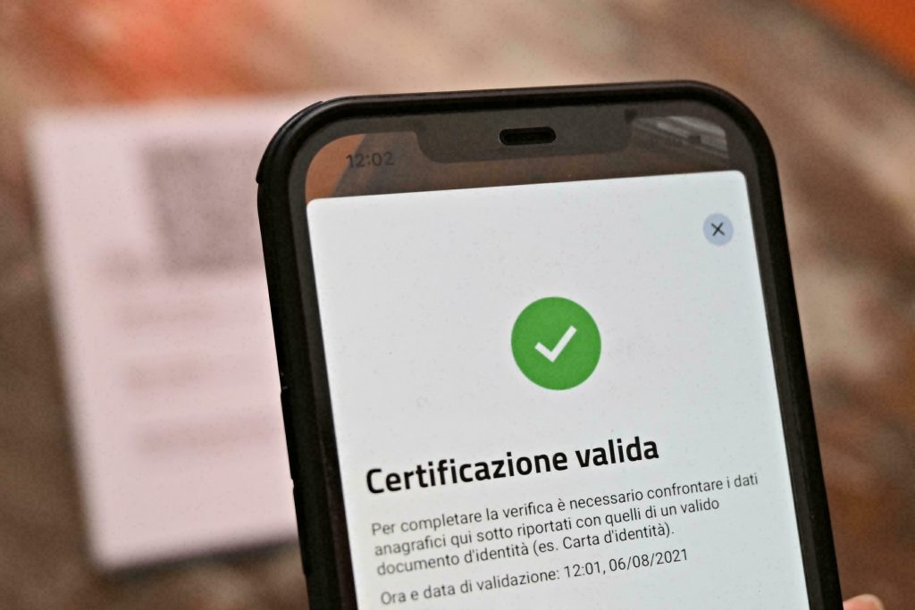 A smartphone screen showing the Italian green pass for Covid-19 vaccination.