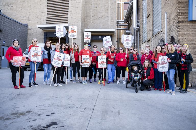 Healthcare workers at the picket line at Mercy Hospital in Buffalo, New York.