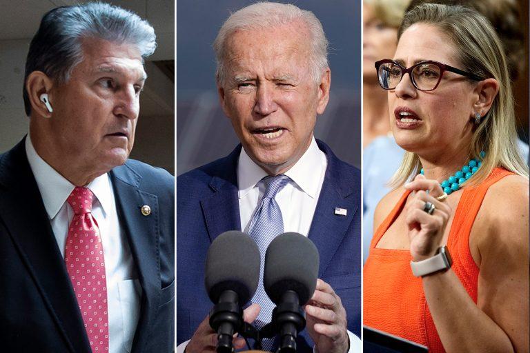 On the left, U.S. Senator Joe Manchin. In the middle, Joe Biden. On the right, Kyrsten Sinema.