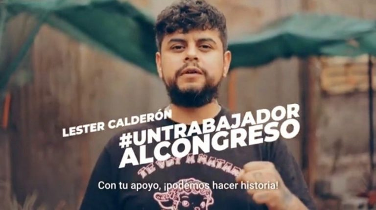 """Chilean worker and socialist Lester Calderon, a bearded 34-year-old stands in the center. The text says, in Spanish, """"A worker for Congress."""""""